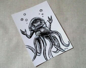 Evil Grindylow- Wizarding Magical Creature Inked Art