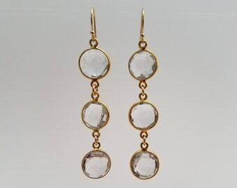Gold Dangle Earrings with Clear Stones