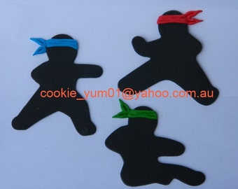 3 edible NINJAS KARATE COLOURED head bands cupcake cake topper decorations anniversary birthday baby shower christening school sport martial