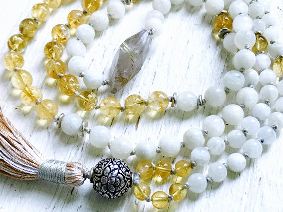 Divine Feminine Mala Beads / Moonstone, Citrine & Rutilated Quartz Tassel Necklace, Third Chakra Mala, Lotus Symbol, 8 Auspicious Symbols