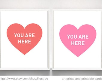 You are here, heart art print, coral and pink heart, printable wall art, nursery art print, wedding anniversary gift, instant download