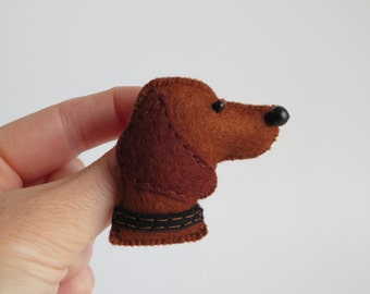 Hand sewn Hungarian Vizsla felt brooch pin