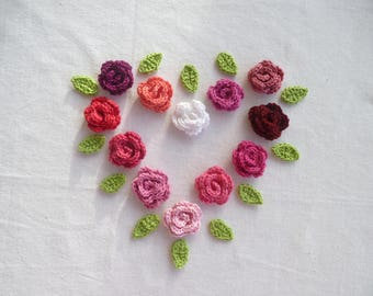 A rose with two leaves crochet cotton