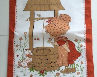 Vintage Kitsch Tea Towel- cute little girl at wishing well.