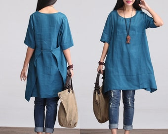 Maxi Dress - Summer Dress in Blue-  Sundress for Women-Short Sleeved (S-5XL) Plus Size