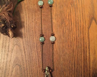 Chrysocolla, Aventurijn, ketting, houten kralen, keten, chakra 's