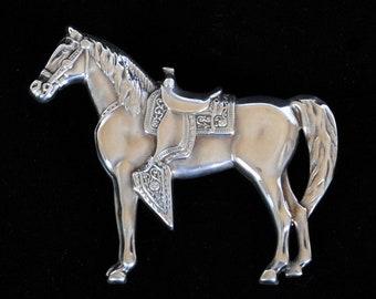 Vintage Horse Brooch of Sterling Silver