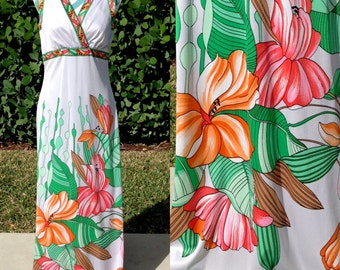 Vintage 70s Maxi Dress Tropical Floral Print Long Dress Florida Hippie Bohemian Style Empire Waist Large