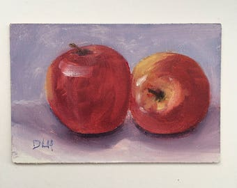 Original oil, painting apples, small painting, still life, kitchen art, impressionism, red apple painting, 4x6 inch