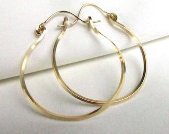 Large Gold Filled Hoop Earrings, 16ga Square Wire on 20ga 14kt GF Earwires - 1.75in Handmade Earrings, Boho Hoops