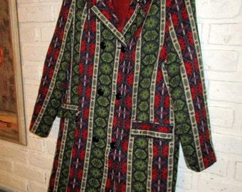 Vintage Turkish Kilim Tapestry Coat Red Green Woven Coat Ethnic Festival Boho Midi Coat Women's Vintage Coat