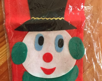 Vintage shiny brite felt Christmas Stocking