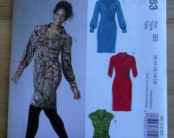 McCalls dress sewing pattern, size 8 10 12 14 16 mock wrap dress sewing pattern, misses office dress pattern, faux wrap front dress pattern