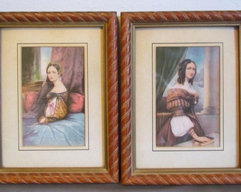 Set of Vintage Prints of Fashionable Women Georgian Period Wall Art Turned Wood Old Picture Frames Wall Art For Bedroom Portraits Of Women