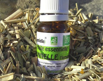 Cymbopognon Citratus, citronella, lemongrass essential oil, certified AB France, 100% pure and natural, produced in France