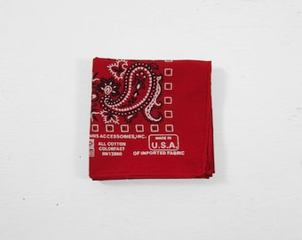 Vintage Red Paris Bandana Colorfast Paisley Print Handkerchief Made in USA