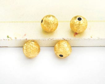 4 of 925 Karen Hill Tribe 24k Gold Vermeil Style  Brushed Round Beads 7 mm.  :vm1146