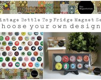 Vintage Bottle Top Fridge Magnet Set