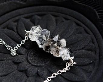 Herkimer Diamond, Herkimer Necklace, April Birthstone, Stack Necklace, Sterling Silver, Modern, Minimal, PoleStar,