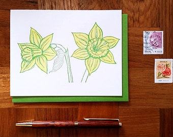 Daffodils, Letterpress Note Card, Blank Inside