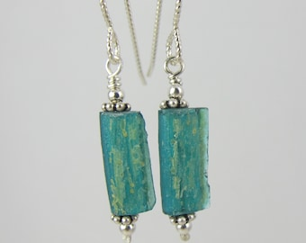 petite teal ancient Roman glass sterling earrings FREE SHIPPING OOAK