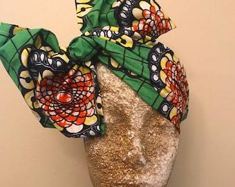 Green Kuchena Half Head Wrap