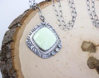 Lemon Chrysoprase Fine Silver Necklace