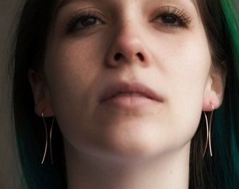 Threader Earrings - Minimalist Earrings - Recycled Silver Earrings - Simple Line Earring