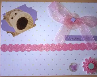 Multicolored polka dots 1 Boofle dog theme card