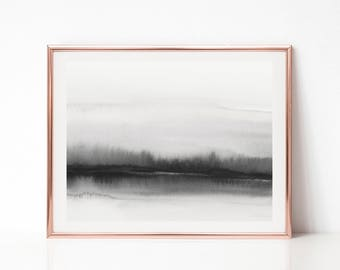 Black and White Abstract Art, Printable Abstract Art, Wall Art, Monochromatic Print, Large Wall Art, Minimal Art, Horizontal Wall Art, Print
