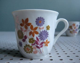 2 vintage French espresso cups, coffee cups, 70s, retro coffee cups