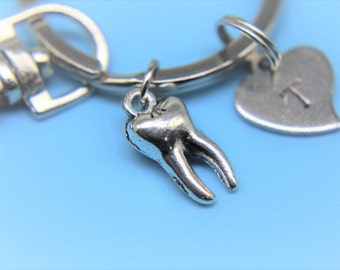 Silver Tooth Charm Keychain Tooth Charm Keychain Dental Hygienist keychain Personalized Keychain Initial Keychain Customized Jewelry