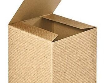 BOXES - SET of 25 / 4 inch Square / Food Safe Kraft Pinstripe Gift Packaging