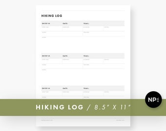 Hiking Journal / Hiking Log / Hiking Trail Journal / Hiker Journal / Hiking Trail Log / Backpacking Journal / Printable PDF
