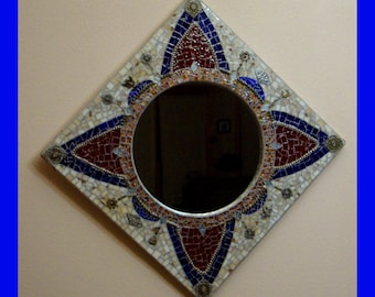 Steampunk Mosaic Mirror Wall Art Filigree Gears Clockworks Stained Glass Victorian Art