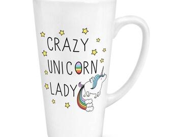 Crazy Unicorn Lady 17oz Large Latte Mug Cup