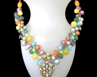 FREE SHIPPING to US. Color Splash Fiesta! Yellows, Oranges, Aquas, Greens, & Purples all in one unique necklace of rare vintage beads.