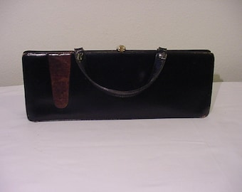 Vintage 1955 Era Black Leather Purse    15 Inches Long   # HAS 70