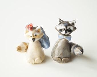 Raccoon Cake Topper, Ceramic Raccoon, Wedding Cake Topper, Love Raccoon, Cake Topper by Her Moments
