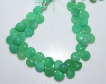 "1 Strand Chrysoprase Color Chalcedony Smooth Heart Shape Beads - Chalcedony Heart Shape Briolette, 9x9 - 11x11 mm, 8"", BL1965"