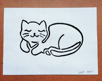 Peaceful Kitty | Linocut Print