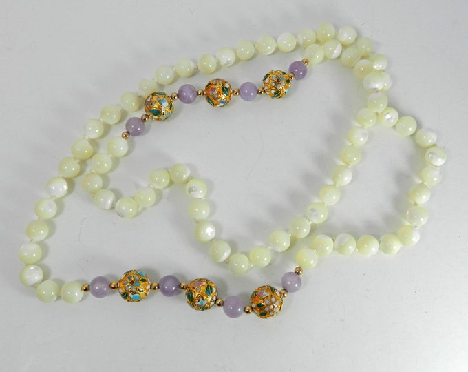 Vintage Mother of pearl round beaded necklace, MOP shell necklace, Chinese Cloisonne Floral, shell carved bead, lavender jade stone, gift