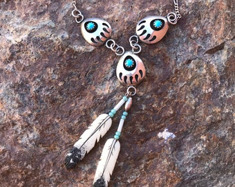 Vintage Navajo Turquoise Bear Claw Feather Sterling Silver Necklace