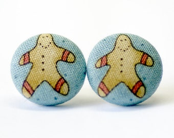Gingerbreadman Silver Post Earrings (Set of 2) ~ Button Earrings ~ Fabric Button ~ Covered Button - 18mm (0.71 inch)