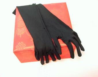 Vintage Black Nylon Gloves