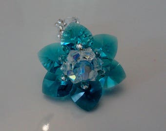 Water lily blue Zircon Swarovski Crystal beads ring