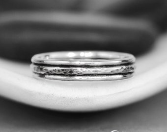 Womens Rustic Wedding Band - Sterling Silver Wedding Band Womens - Stacking Wedding Band - Hammered Wedding Ring - Layered Wedding Band