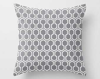 Honeycomb Geometric pillow with insert  - Slate Grey - Modern Throw pillow with insert - Home Decor - By Aldari Home