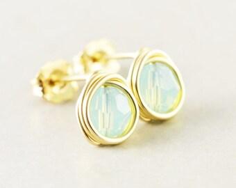 Mint Green Studs, Seafoam Crystal Posts, Aqua Post Earrings, Handmade