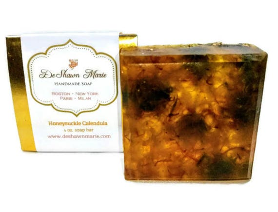 SOAP- Honeysuckle Calendula Soap- Handmade Soap - Vegan Soap - Glycerin Soap- Soap Gift - Mother's Day Gift - Birthday Gift - Wedding Favors